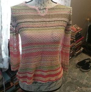 Talbots small petite crochet sheer sweater